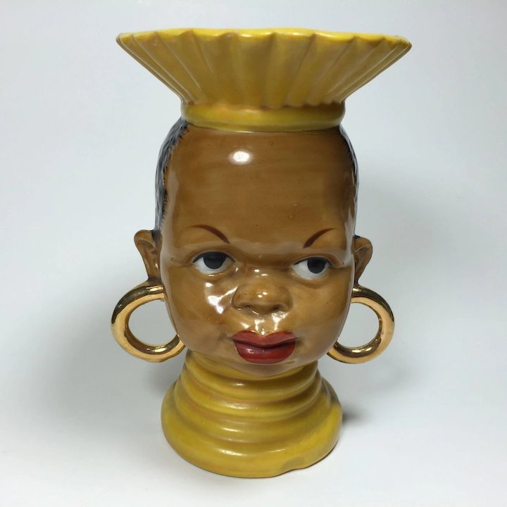 Ethnic African Tribal Lady Head Vase In Yellow Heads Up Vintage