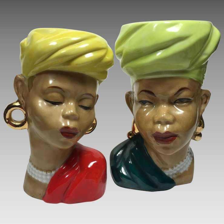Pair Ethnic Tribal African Lady Head Vases Heads Up Vintage Ruby