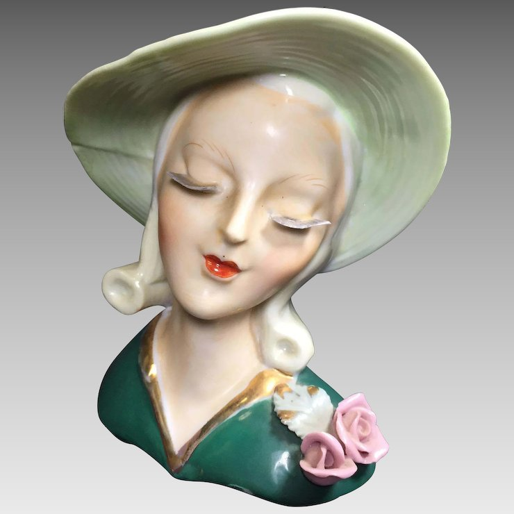 Art Deco Style Lady Head Vase W Thin Delicate Lashes Heads Up