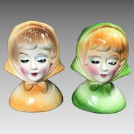 Vintage Lady Head Vases Petite Scarves