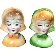 Vintage Lady Head Vases Petite Scarves