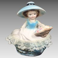 Vintage Vanity Dresser Dish Ceramic Figural Lady
