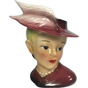 Vintage Lady Head Vase Feathers on Hat