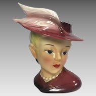 Vintage Lady Head Vase Feathers on Hat