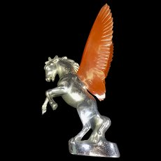 Vintage Horse Hood Ornament Car Pegasus Orange Plastic Wings