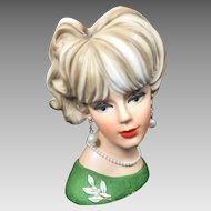 Vintage Lady Head Vase Napco 1960's Large Green