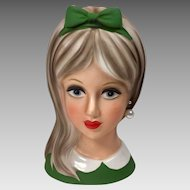 Vintage Head Vase Teen Napco 1960's Green Large