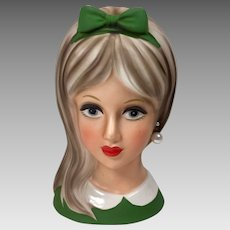 Vintage Head Vase Teen Napco 1960's Green Large