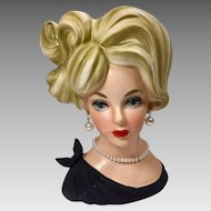 Vintage Lady Head Vase Napco 1960's Black