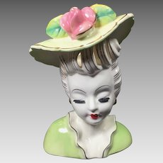 Vintage Lady Head Vase Glamour Girl Cut Out Hair