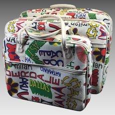 Vintage Suitcase Trio Set Retro Hippy Travel