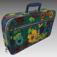 Vintage Suitcase Retro Floral Hippy Travel