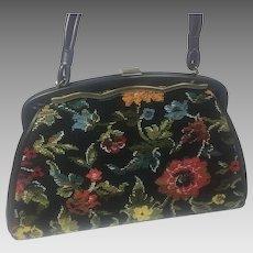 Vintage Purse Hand Bag Tapestry Black Floral Design
