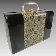 Vintage Travel Vanity Case Faux Black Patent Snake Skin