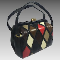 Vintage Mod Purse Diamond Pattern Black Vinyl