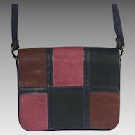 Vintage Leather Patchwork Mailbag Purse Spilene