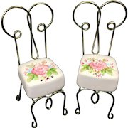 Vintage Bistro Chairs Salt & Pepper Shakers Wire Ceramic