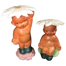 Vintage Baby Salt Pepper Shakers Flower Hats Japan