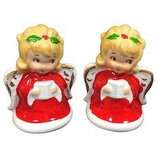 Vintage Lefton Christmas Angel Salt Pepper Shakers Mini