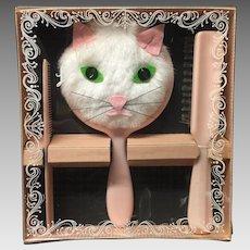 Vintage Kitty Hand Mirror Brush Comb Dresser Set in Box