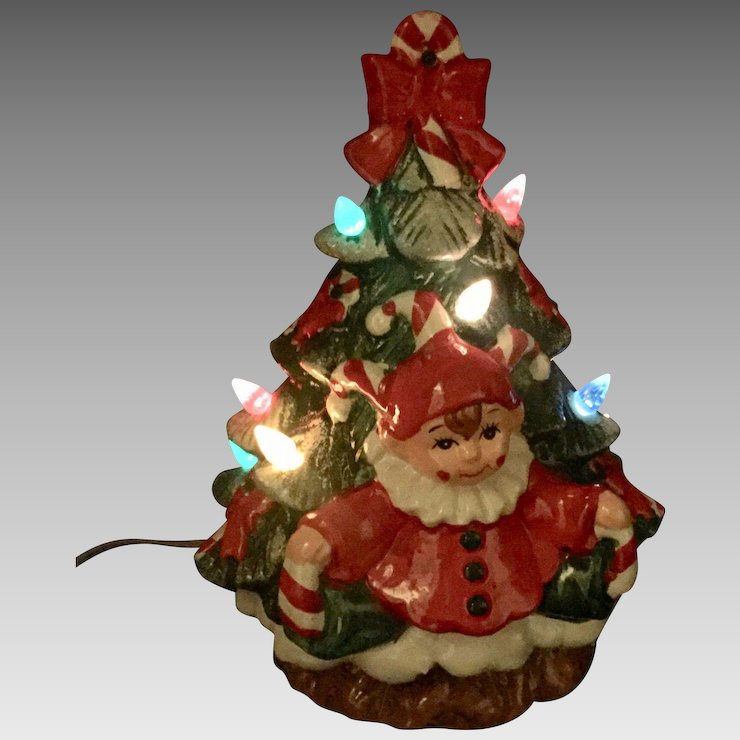 Relive Christmas Is Forever Lighted Tabletop Ceramic Tree 145 Green