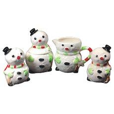 Vintage Snowman Sugar Creamer Salt Pepper Shakers Enesco Ceramic
