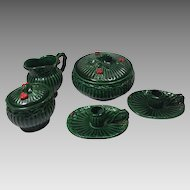 Vintage Christmas Green Holly Sugar Creamer Bowl Candle Holders Inarco Ceramic