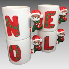 Vintage NOEL Christmas Mugs Elf Stacking