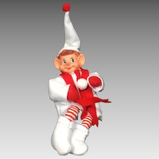 Vintage Christmas Elf Ornament Red White Felt Removable Clothes