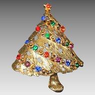 Vintage Christmas Tree Brooch Rhinestone Stars JJ