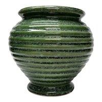 Vintage Hull Imperial Urn Ringed Vase Jardiniere   Moss Green Ring Ware