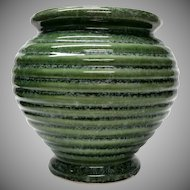 Vintage Hull Imperial Urn Ringed Vase Jardiniere   Moss Green Ring Ware