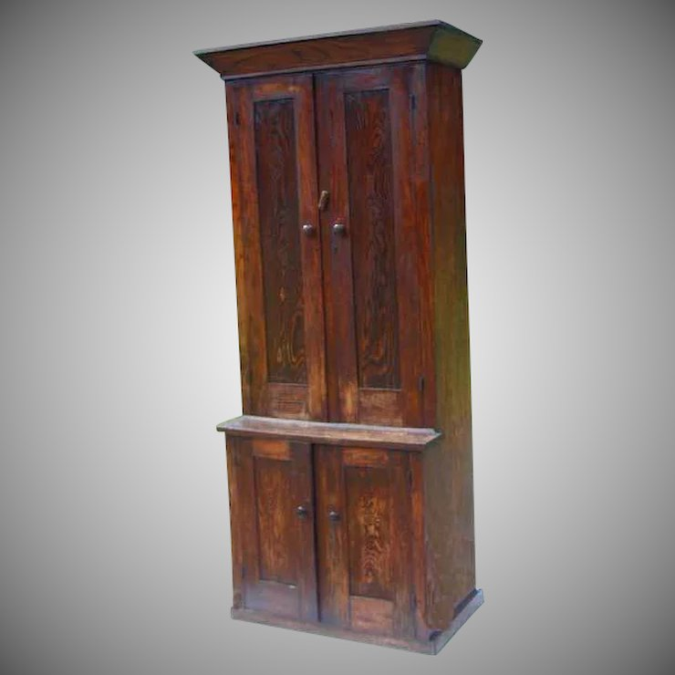 Stepback Cupboard Elm 19th Century Mid 1800s Narrow Width Antique Vintage - Stepback Cupboard Elm 19th Century Mid 1800s Narrow Width Antique