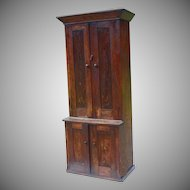 Stepback Cupboard Elm 19th Century Mid 1800s Narrow Width Antique Vintage