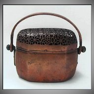 Antique Chinese Hand Warmer Copper Ornate Pierced Top 19th Century W/Mark