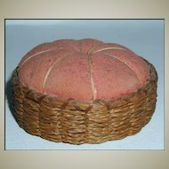 Antique Sweet Grass Basket Pin Cushion Double Lashed Rim Original Fabric