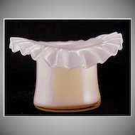 Fenton Glass Rose Overlay Top Hat Vase Crimped Ruffled 1940s