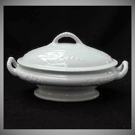 Antique Ironstone Covered Footed Tureen Hyacinth Burgess Circa Mid 1800s