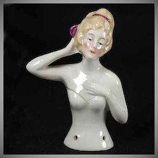 Vintage Half Doll Germany Lovely Pose Arm Away