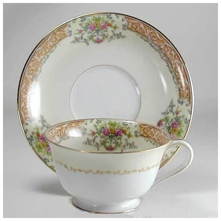 Noritake Occupied An Cup Saucer Set Rose China With Gold Trim Vintage