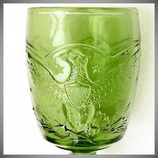 Eagle Goblet L E Smith - Vintage 1960s - Antique Green Glass Color