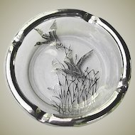 SET of 4 Silver Overlay Glass Ashtrays Flying Geese - Silver City