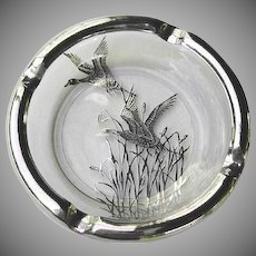 Silver Overlay Glass Ashtray Flying Geese - Silver City Glass Co. Duck Ca. Mid 1940s