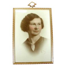 Art Deco Photograph Frame Ornate Brass 1930s - Tabletop or Wall
