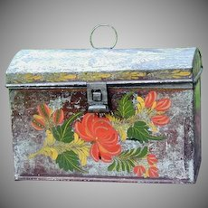 Antique Tole Tinware Domed Document Box N.Y. Folk Art Painted Tin 1820s Toleware