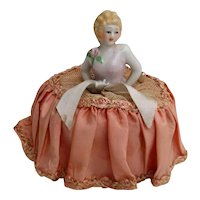 Vintage Lady Half Doll Pincushion - Rose at Shoulder Original Netting Skirt - Japan