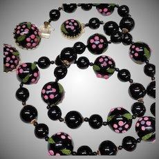 Vintage Black Beads Necklace Earrings Set Sugar Glass Flowers Hot Pink Japan