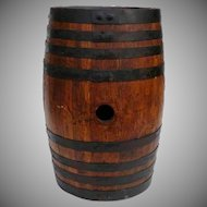 Antique Oak Wooden Barrel 5 Gal Vanilla Extract Label Original Condition