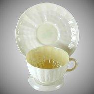 Belleek Pottery Tridacna Shell Pattern Cup Saucer Green Mark Ireland