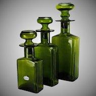 Vintage Rainbow Art Glass Mid Century Decanters Set 3 Green Graduated